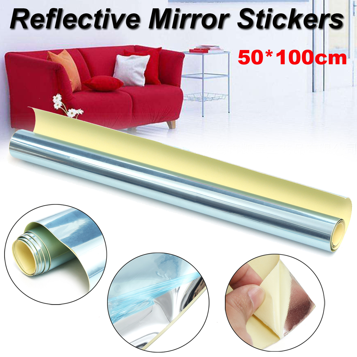 50cm×100cm Reflective Mirrors Stickers Wall Decal Self-adhesive For Bedroom Living Room