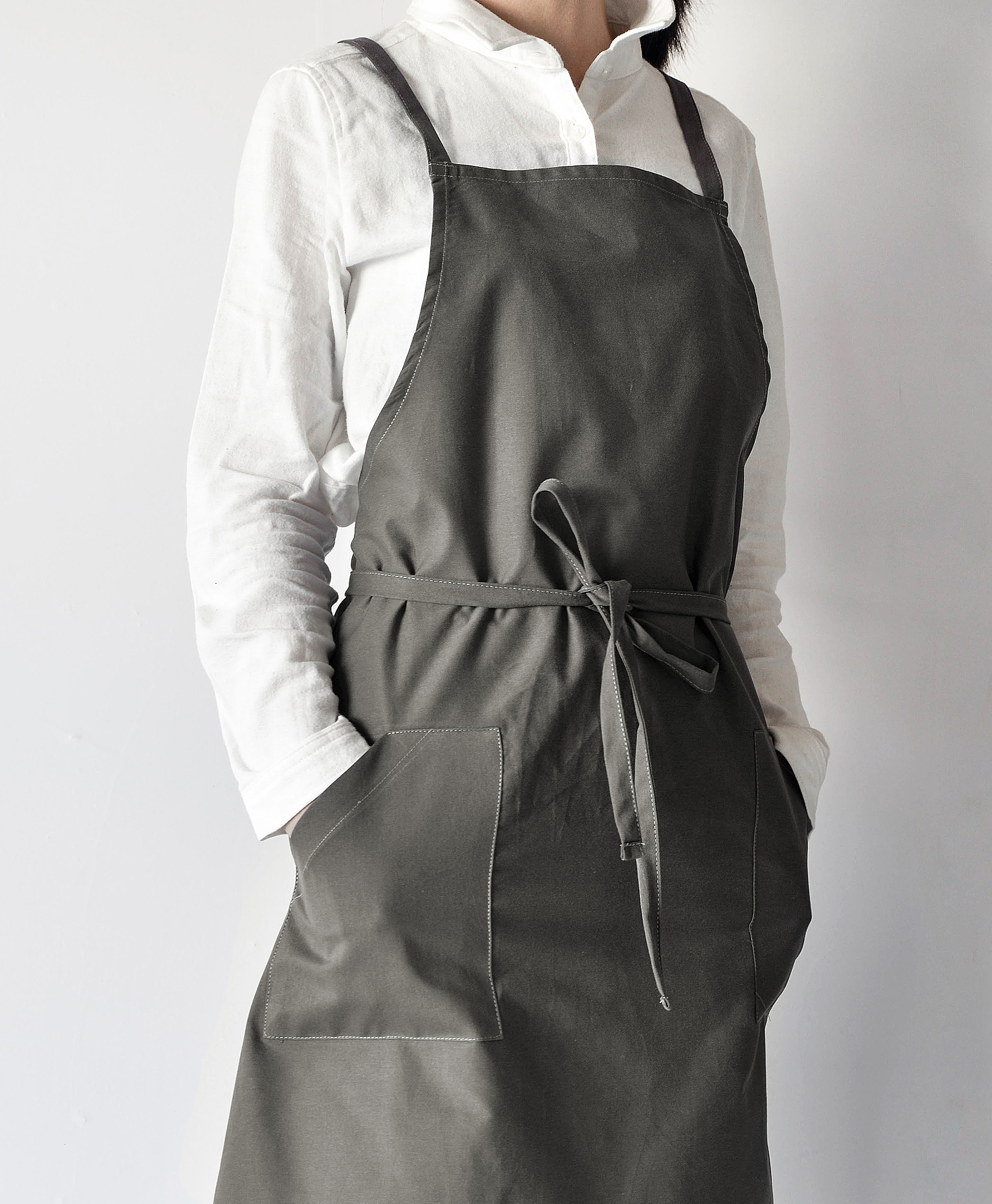 Women Casual Japanese Style Cotton Aprons Dress with Pocket