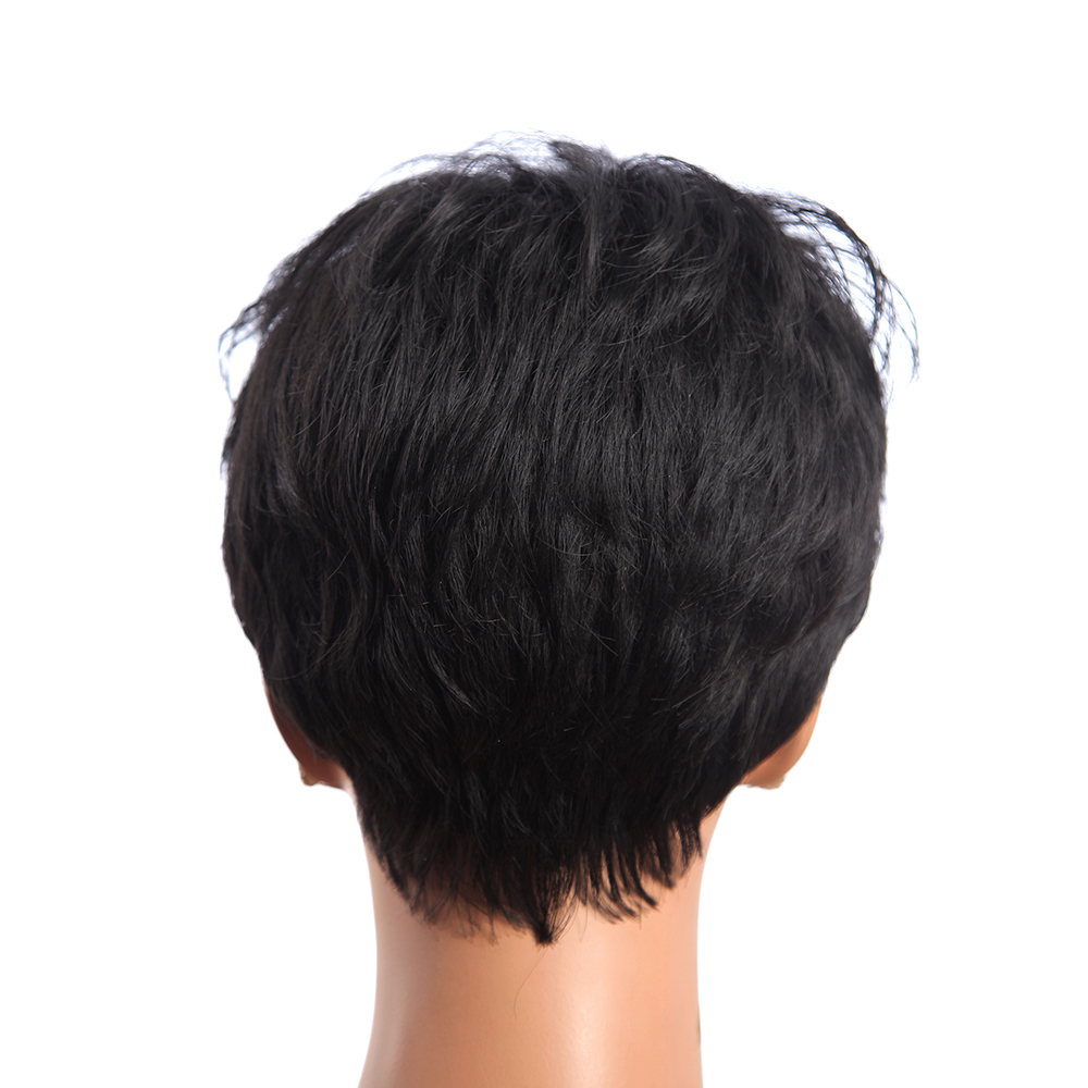 4 Inch Black Short Straight Synthetic Hair Wigs Kabekalon