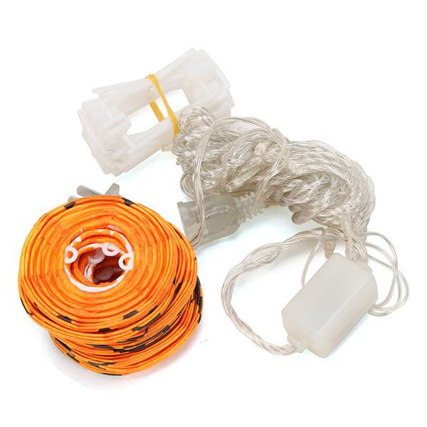 4M 10 LED Paper Pumpkin Lantern String Light for Halloween Decoration 110V