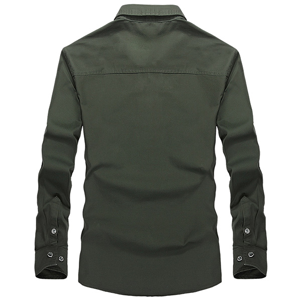 Mens Military Epaulet Casual Slim Outdoor Wicking Cotton Autumn Solid Color Long Sleeve Shirt