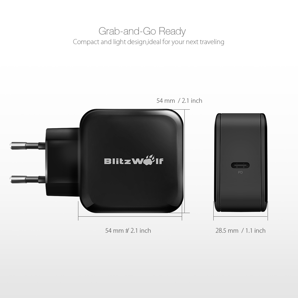 BlitzWolf® BW-S10 30W USB Type-C PD+QC3.0 Fast Charger EU Adapter for iPhone 8 8 Plus X