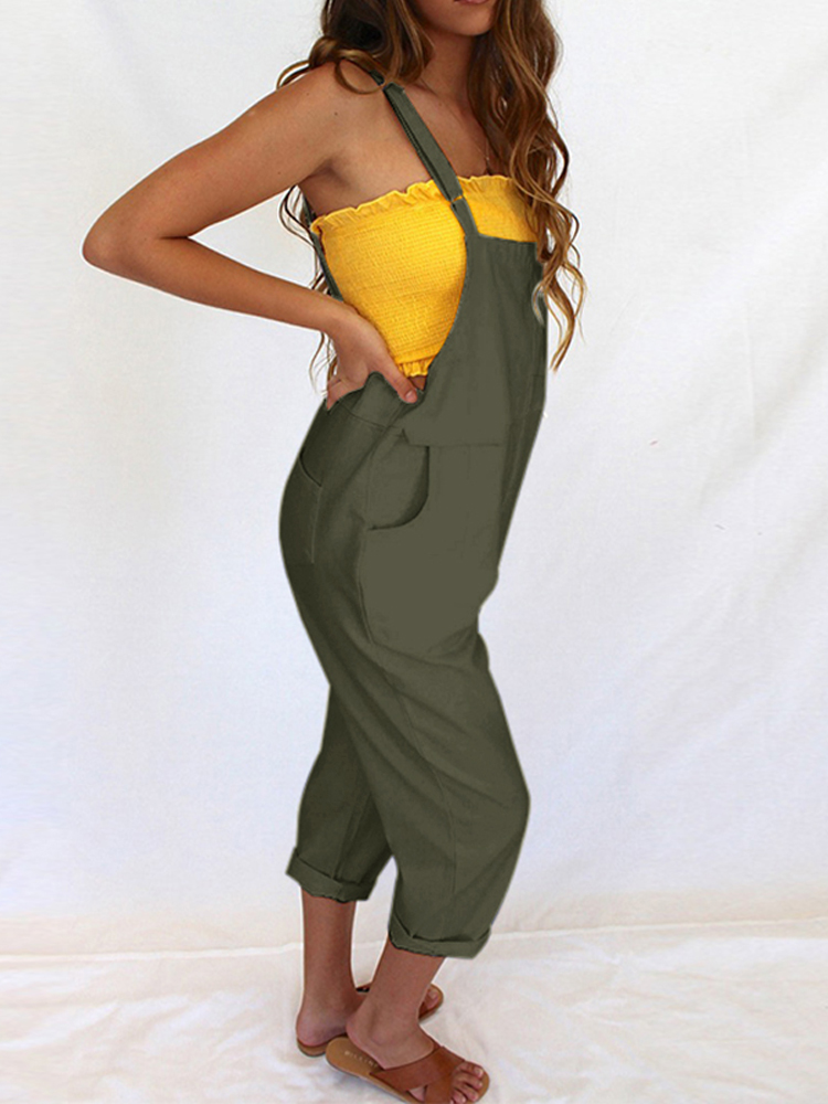 Women Sleeveless Straps Solid Color Jumpsuit Overalls