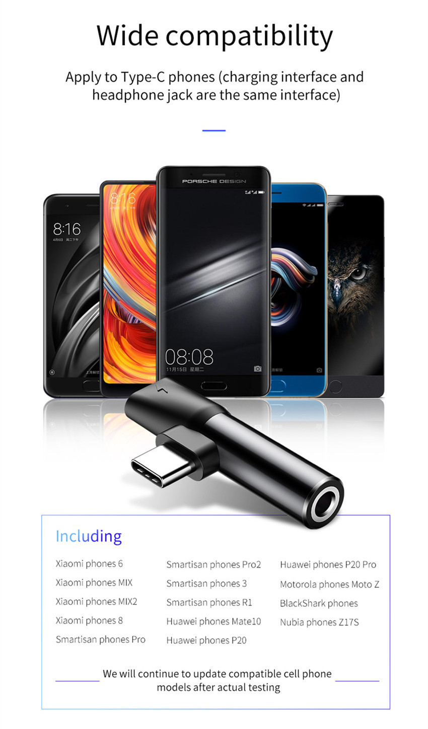 Baseus 2 in 1 Metal Type-c to Type-c Charging 3.5mm Audio Jack Adapter Converter for Xiaomi Huawei