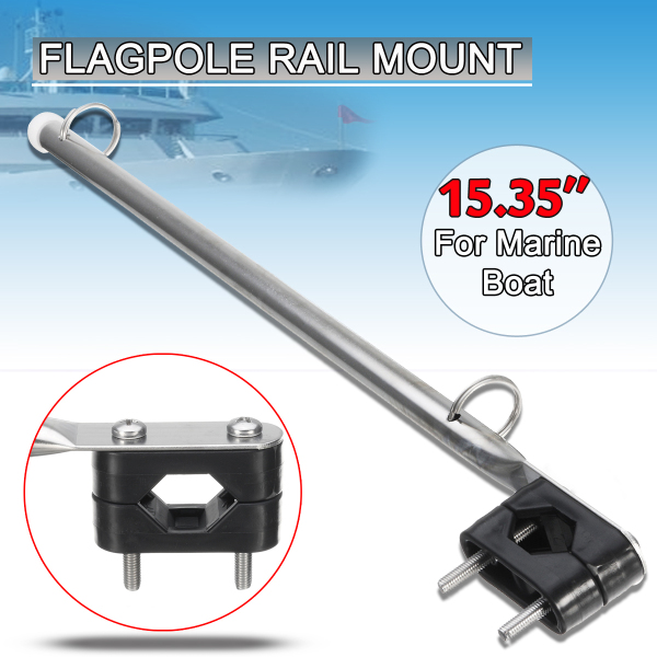 39cm Stainless Steel Marine Flag Staff Pole Rail Mount For Yachts Boats