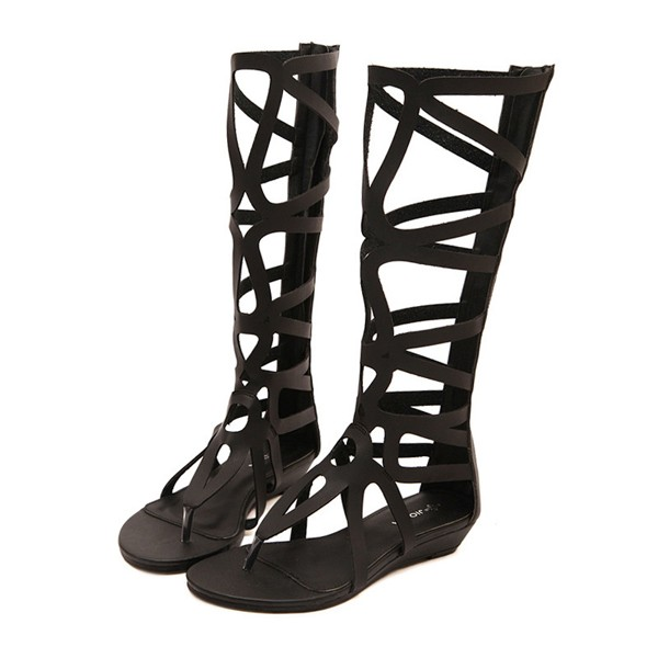 Women Summer Fashion Outdoor Bohemia Gladiator Flat Knee High Zipper Sandals Shoes