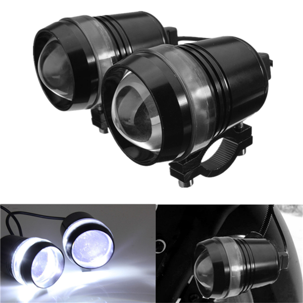 2pcs 12V 30W Motorcycle U3 LED Angel Eye Driving Fog Spot White Headlight Hi/Lo