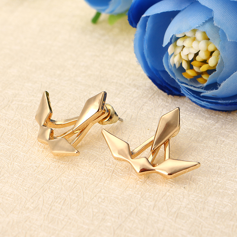 Trendy Gold Silver Geometric Double Side Jacket Ear Stud