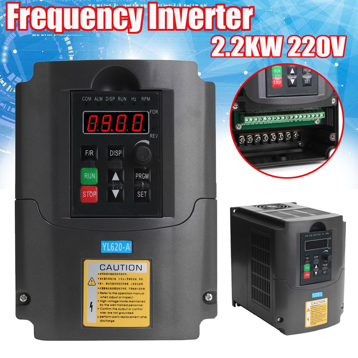2.2KW 220V Variable Frequency Inverter Built-in PLC Speed Control Single Phase In Three Phase Out