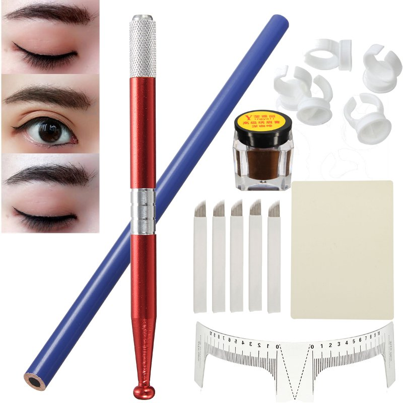 Permanent Makeup Eyebrow Tattoo Needle Micro Blading Pigment Manual Pen Kit