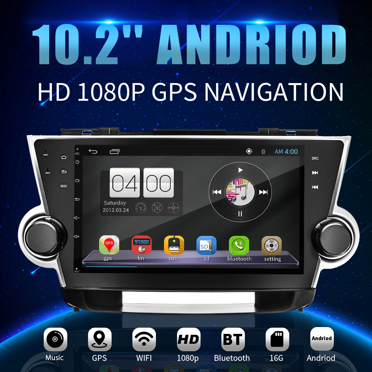 10.2 Inch Car GPS Module Android Navigation 1G+16GB Machine For Toyota Highlander