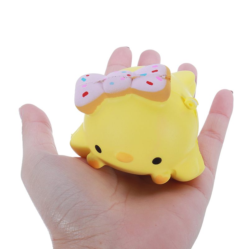Meistoyland Squishy Yellow Chick Slow Rising Straps Squeeze Toy Gift Healing Toy Collection With Packaging