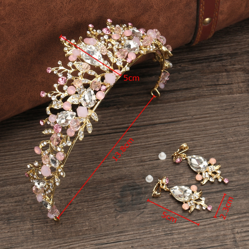 Pink Bridal Wedding Crystal Crown Headband Headpiece Earring