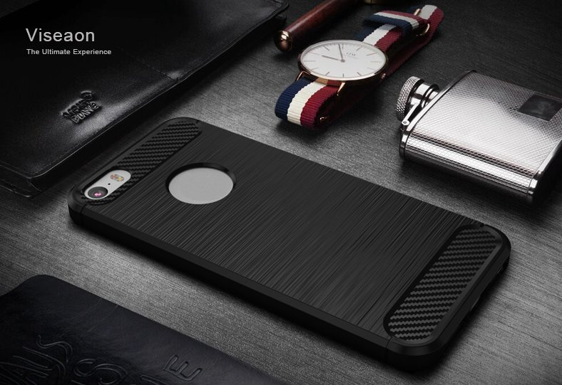 Bakeey 1.5mm Thickness Carbon Fiber TPU Case For iPhone 5 5S SE