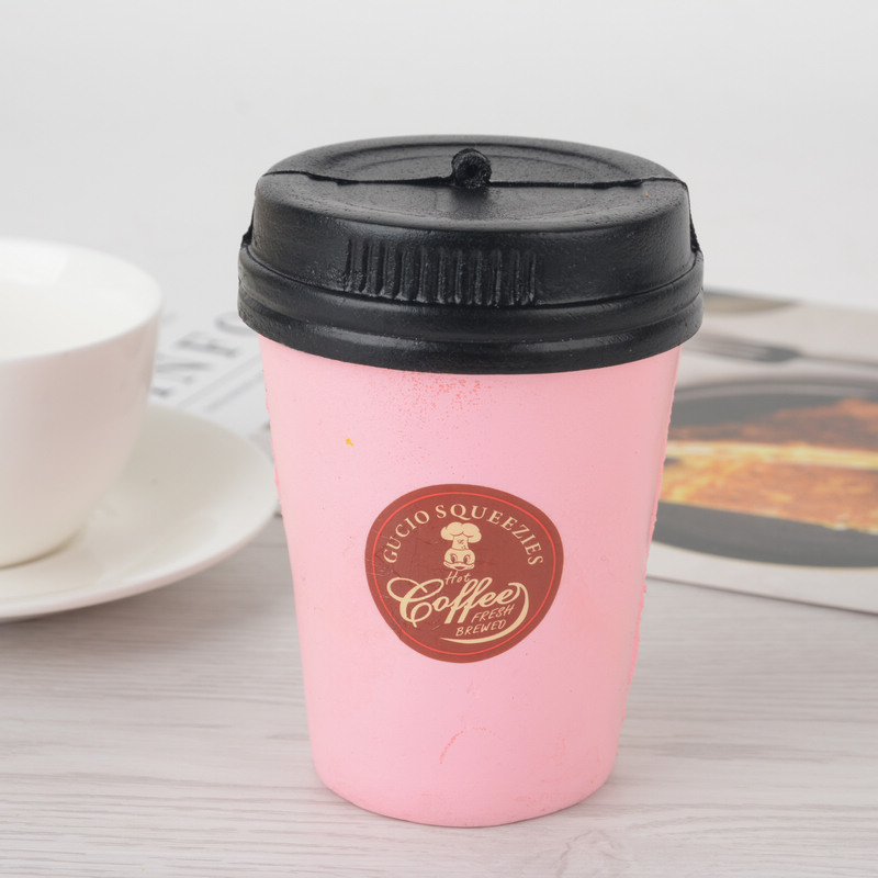 Cute Squishy Slow Rising Pink Coffee Cup Stress Relieve Toys Gift Home Decoration