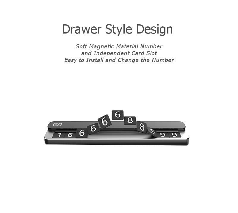 Drawer Style Creative Car Temporary Parking Phone Number Card Magnetic Car Decoration