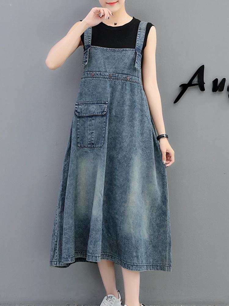 Demin Elastic Waist Pocket Suspender Dress