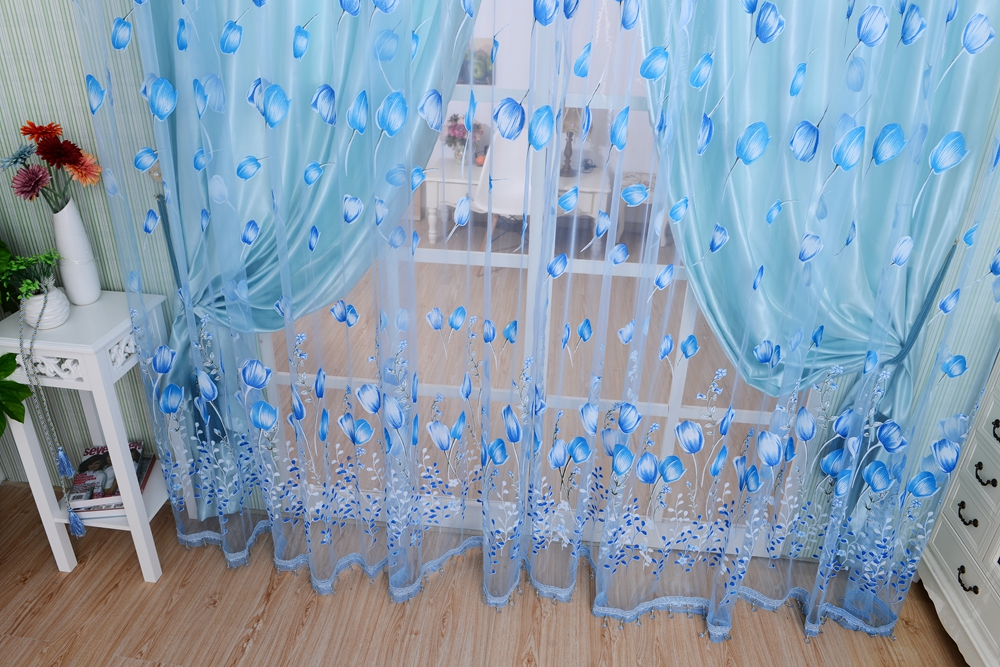 Honana WX-C1 1x2m Tulips Flower Voile Door Curtain Panel Window Room Divider Sheer Curtain Home Decor