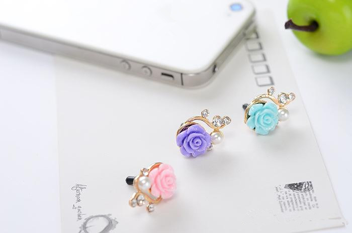 Earphone Port Metal Dust Plug 3.5mm Dustproof Resin Flower For Mobile Phone iPhone 6 Xiaomi
