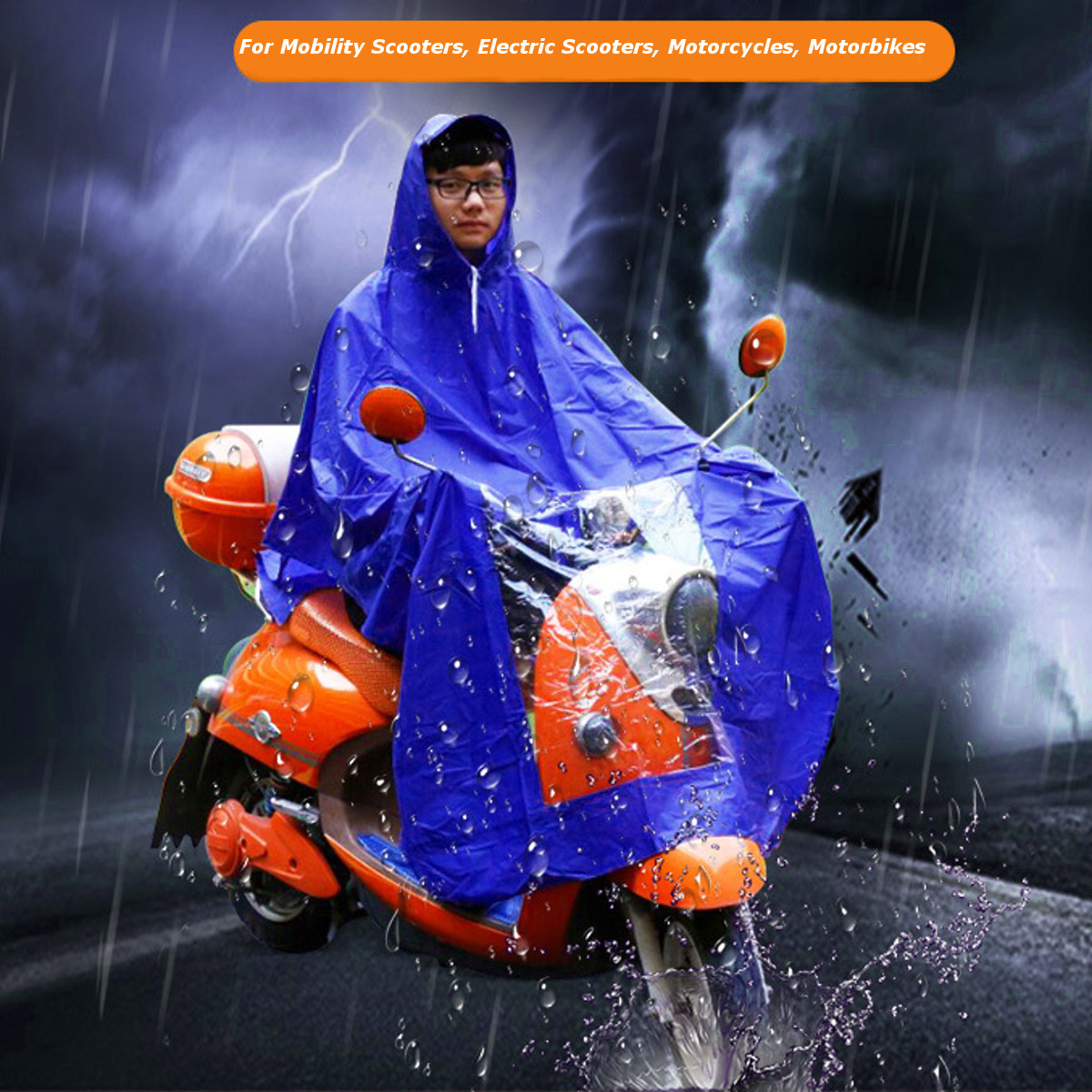 Waterproof Motorcycle Raincoat Scooter Mobility Rain Coat Cape Poncho PVC