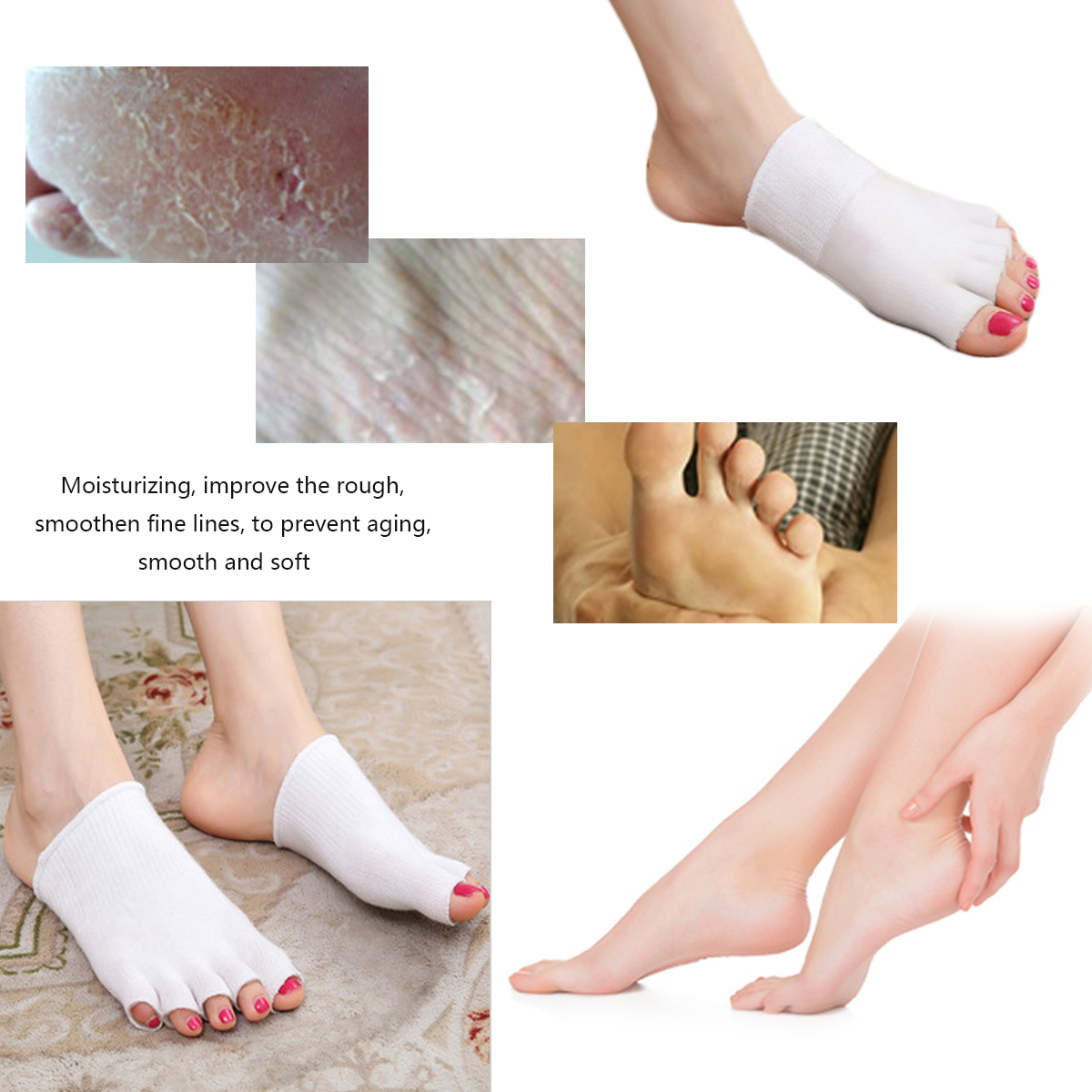 SPA Whitening Moisturizing Gel Toe Socks Chapped Care Tool Feet Cracked Pedicure Skin Protector