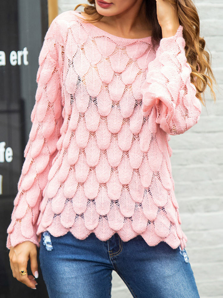 Women Solid Color Loose Hollow Feather Knit Sweaters