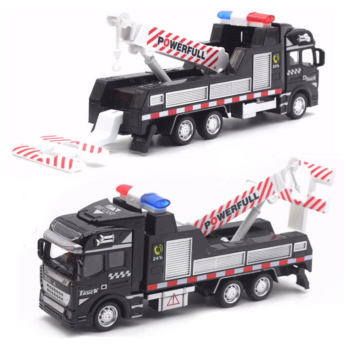 1:48 Scale Alloy Car Model Toys Kid Mini Rescue Police Tow Truck Birthday Gift