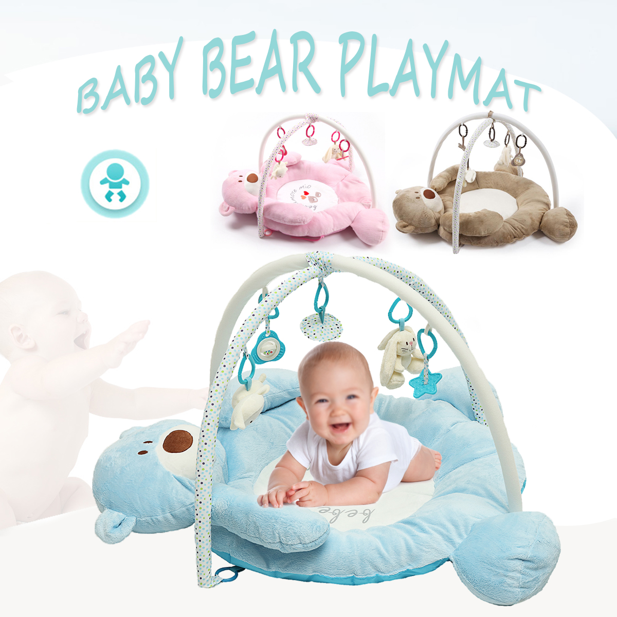 Foldable Musical Baby Bear Playmat Children Soft Gym Activity Floor Mat Toddlers Baby Play Bat