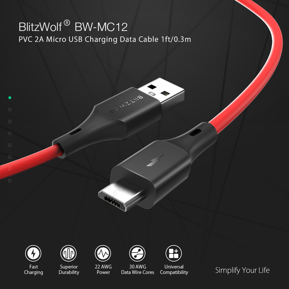 BlitzWolf® BW-MC12 Micro USB Charging Data Cable 1ft/0.3m For Samsung S7 S6 Xiaomi Redmi Note 5