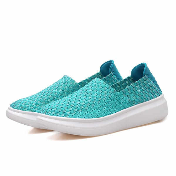 Colorful Knitting Breathable Slip On Athletic Shoes Walking Sport Shoes