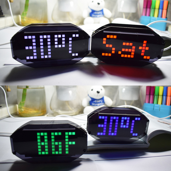 Geekcreit® DIY Black Mirror LED Matrix Desktop Alarm Clock Kit With Temperature Display Holiday And Birthday Remind Function