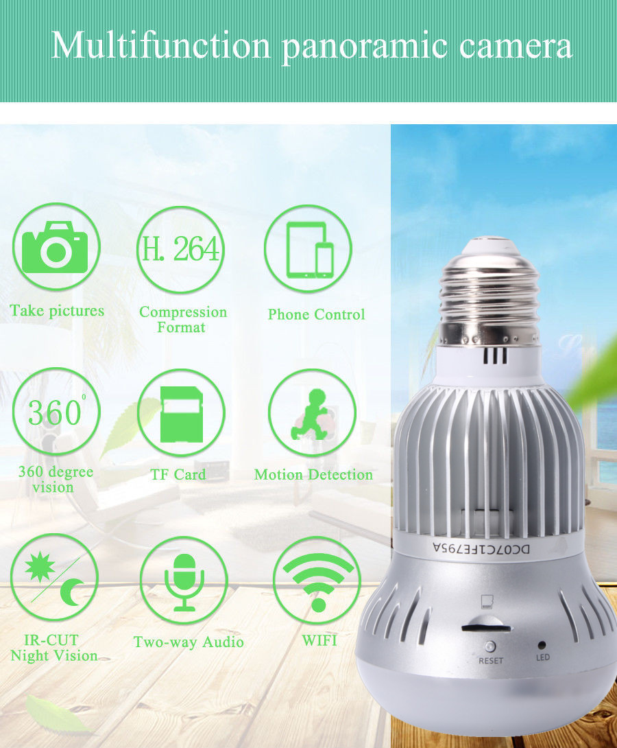 360° Wireless WiFi HD 1080P Light Bulb IP Security Camera Panoramic Motion Detect Two Way Audio 14