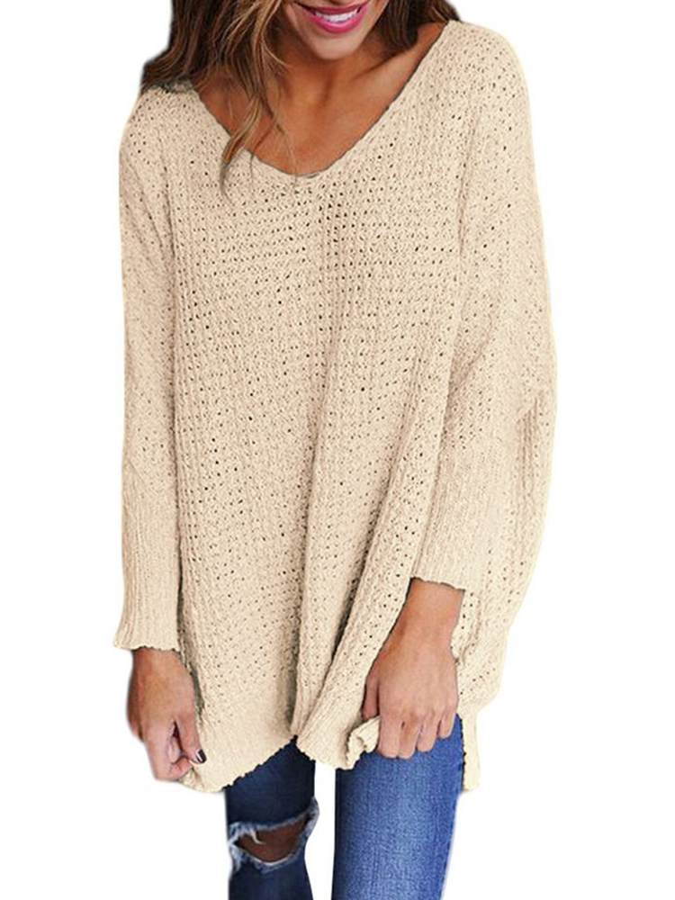 Plus Size Loose V-neck Long Sleeve Pure Color Knit Sweaters
