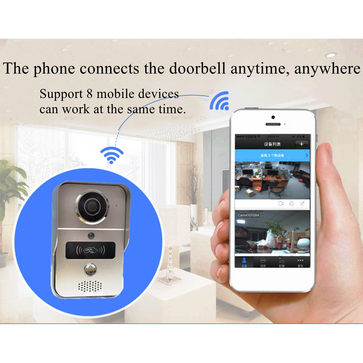 Wireless Wifi Video Camera Intercom Phone Door Bell Night Version+5 RFID Card