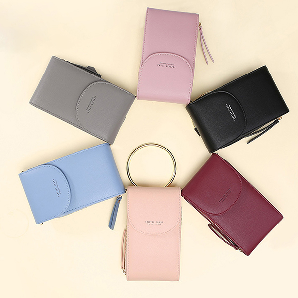 Women Pure Color Ring Handle Handbag Creossbody Wallet