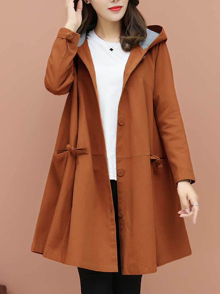 Plus Size Elegant Solid Color Hooded Trench Coats