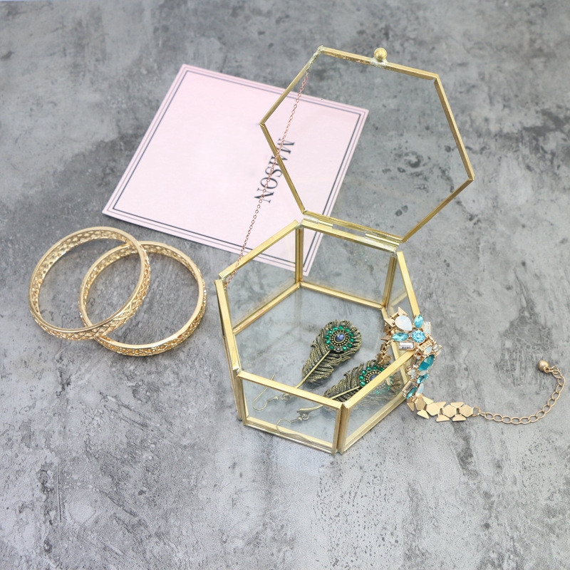 Hexagonal Jewelry Boxes Geometric Shape Glass Flower Room