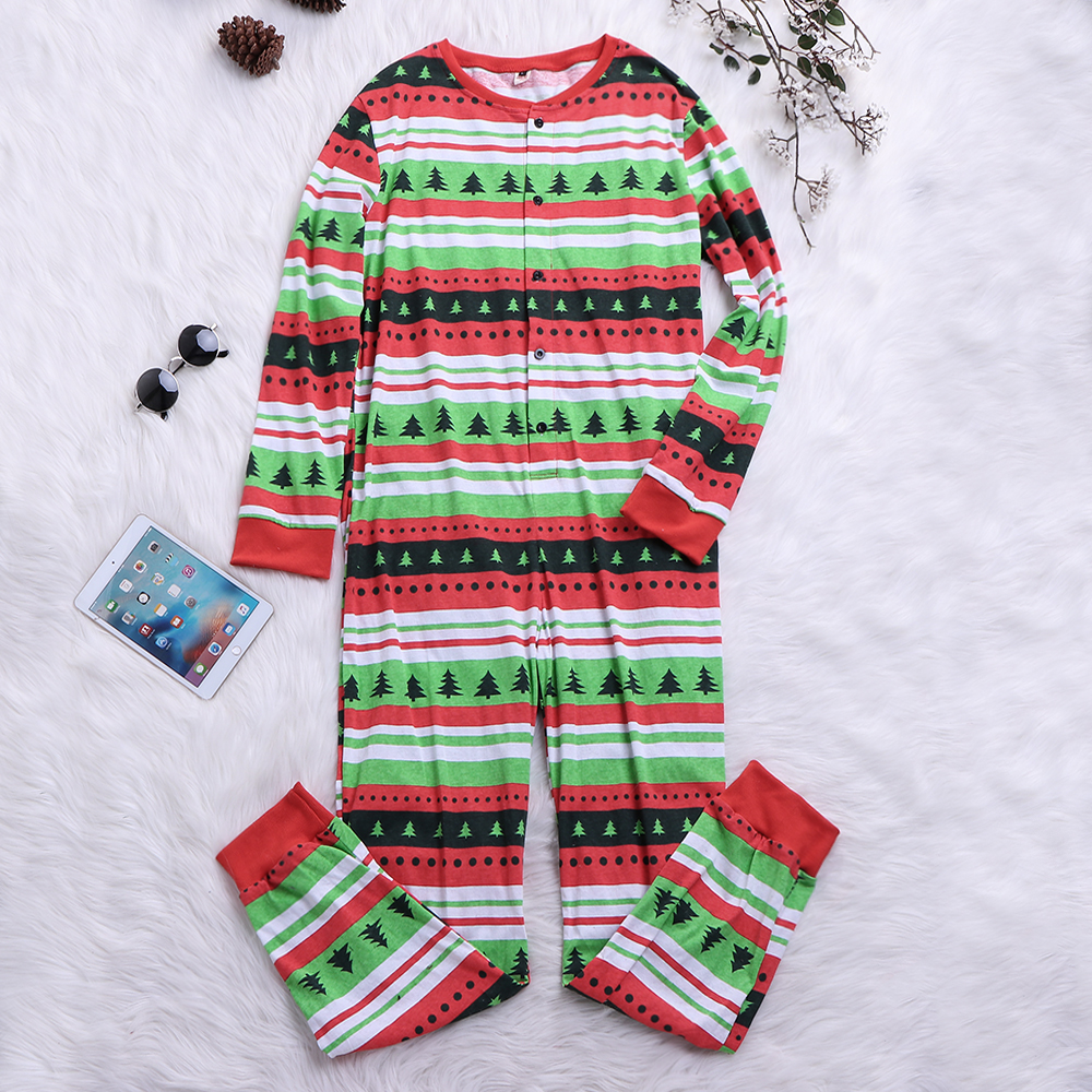 Mens Christmas Tree Striped Printing Cotton Sleepwear Pajama