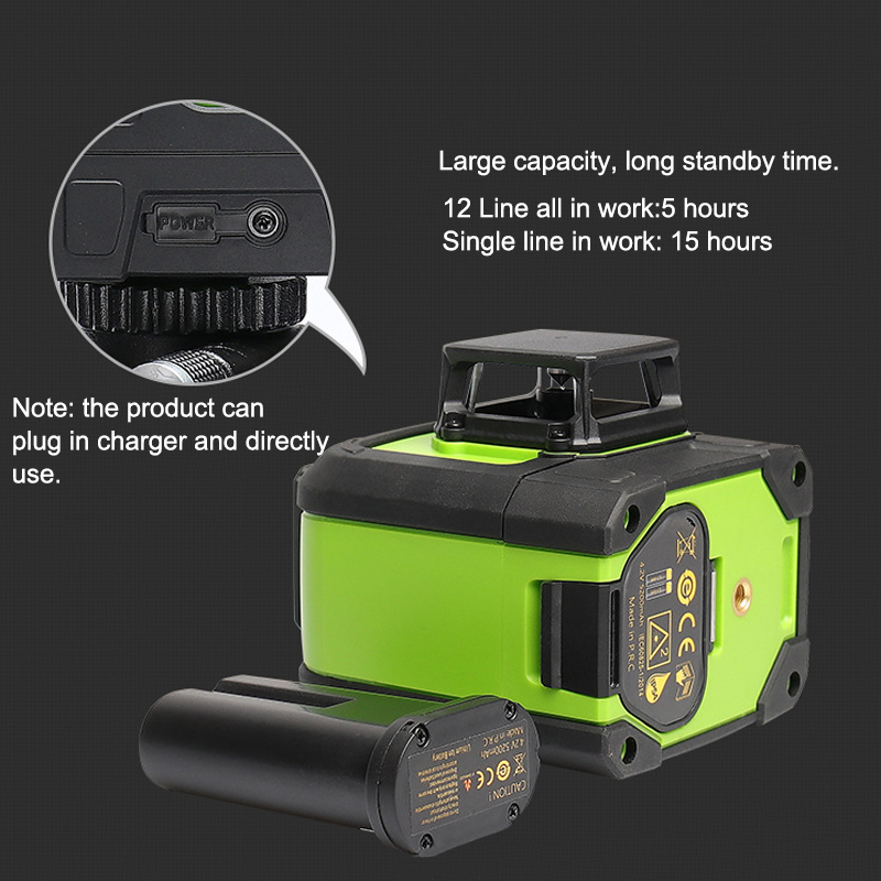 12 Line Laser Level Green Auto Self Leveling 3D 360° Rotary Cross Measure Tool