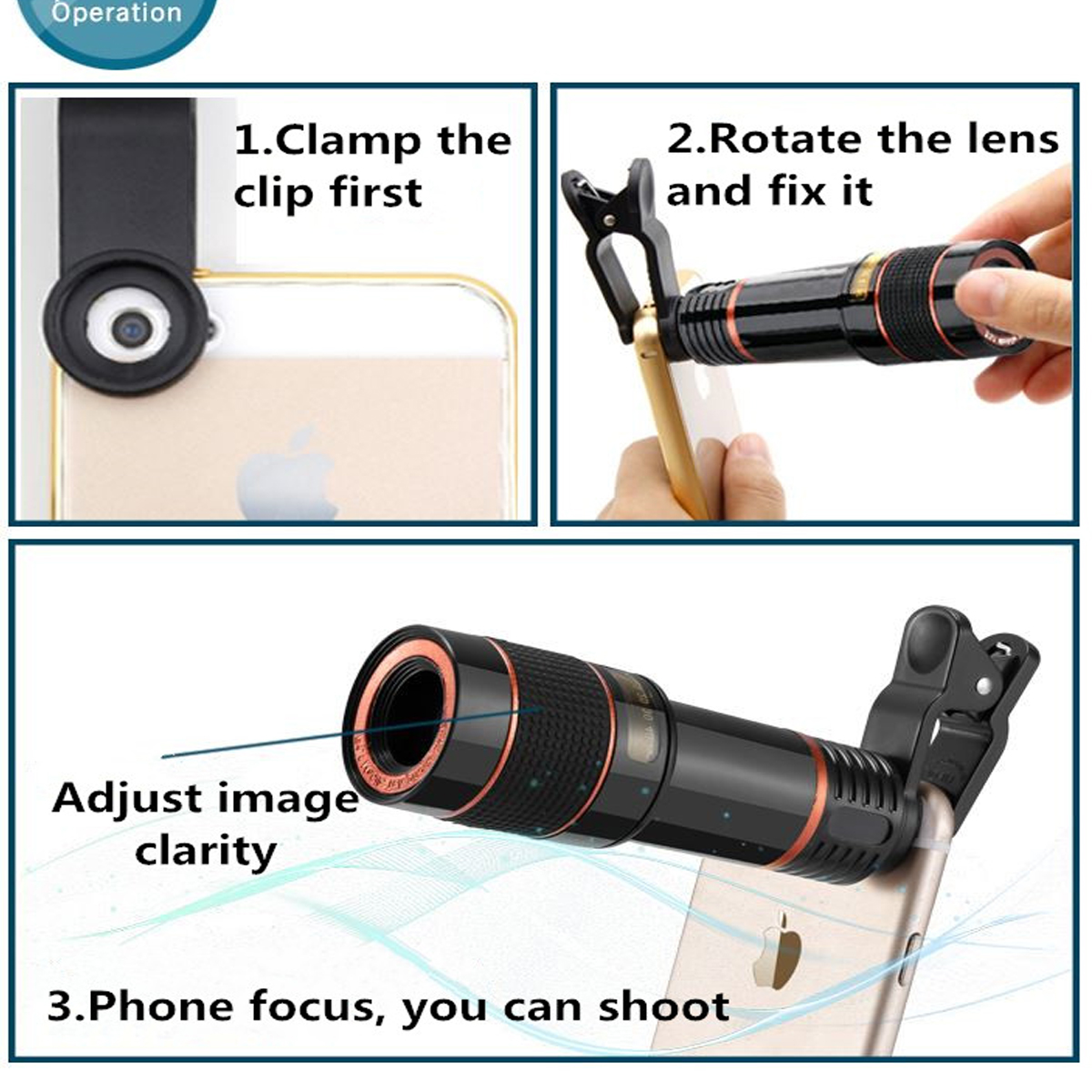 Clip-on 12x70 ° Portable Optical Zoom HD Mobile Phone Telescope Camera Lens