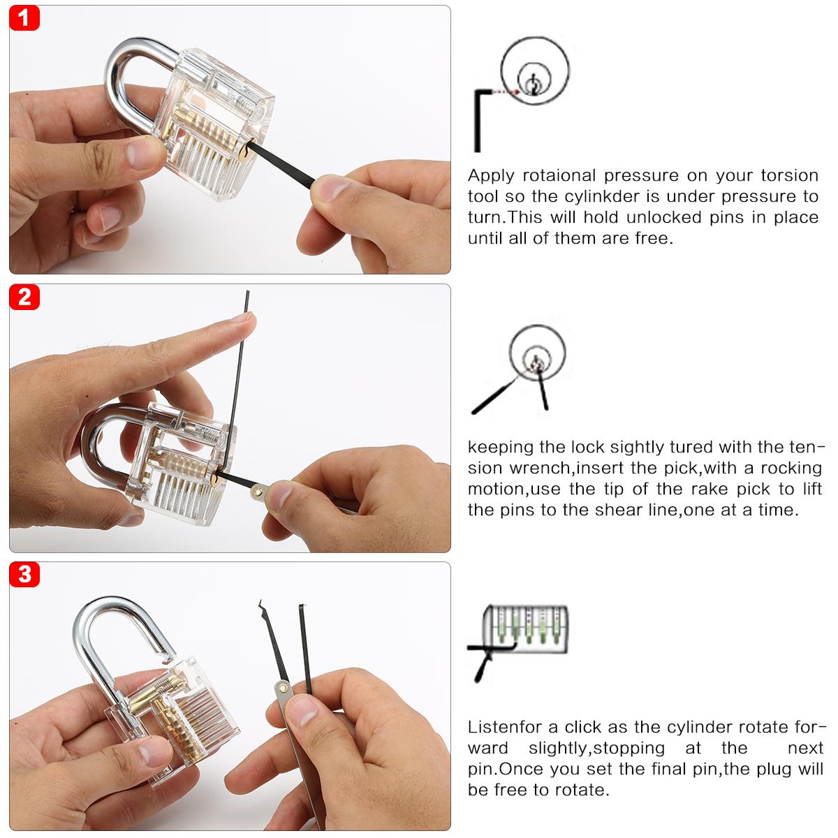 15Pcs Lock Picks Set Key Extractor Tool Unlocking Practice with Transparent Practice Padlock