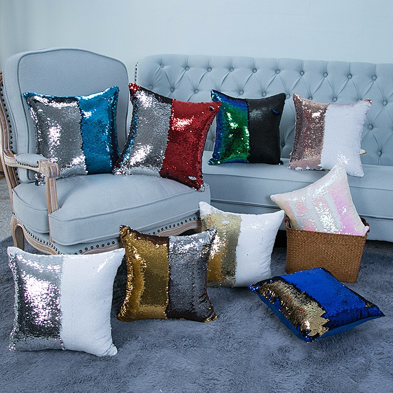 Reversible Sequin Mermaid Pillowcase Magical Color Changing Pillow Cushion Cover Home Car Decor