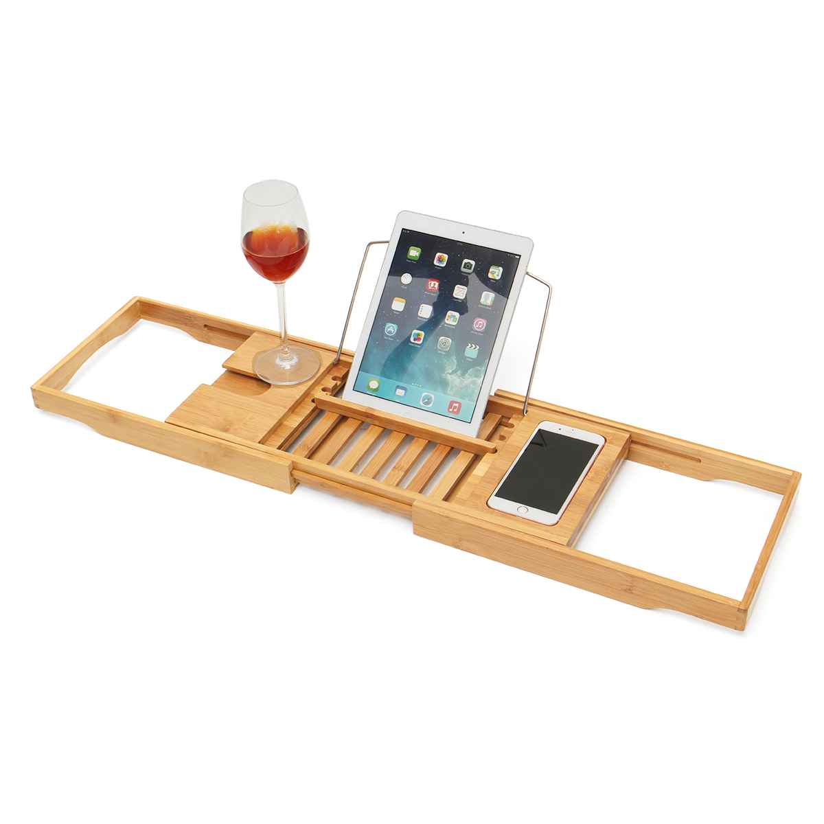 Luxury Bathroom Bamboo Bath Shelf Bridge Tub Caddy Tray Rack Wine Holder Bathtub Rack Support Storage