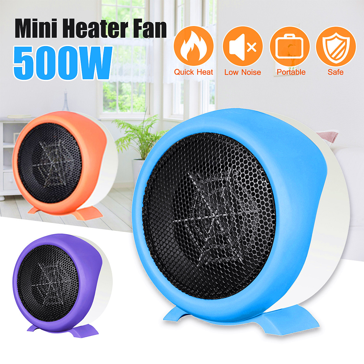 220V 500W Mini Heater Air Heater Winter Room Office Warmer Table Heater