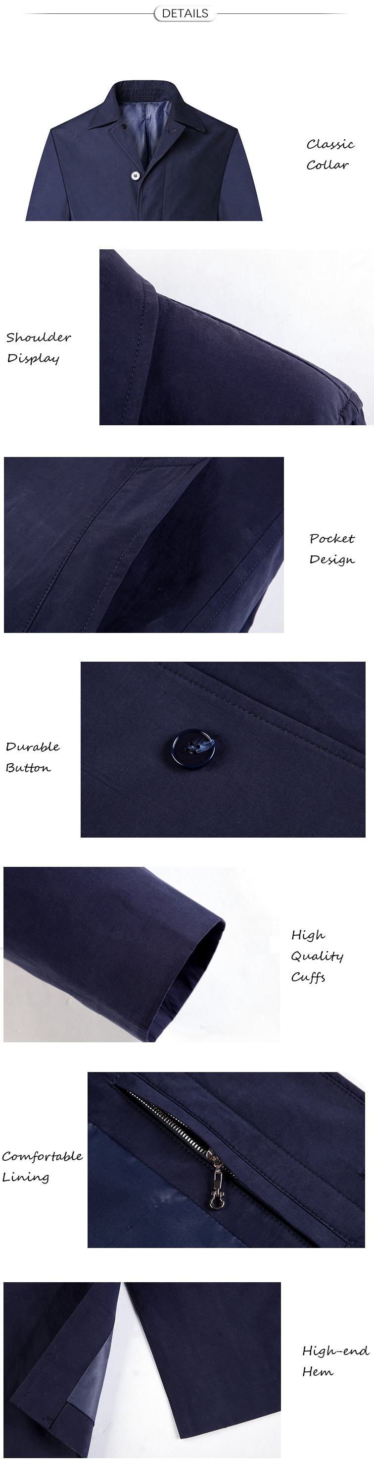 Mens Autumn Casual Turn-down Collar Slim Fit Overcoat Single-breasted Business Long Trench Coat