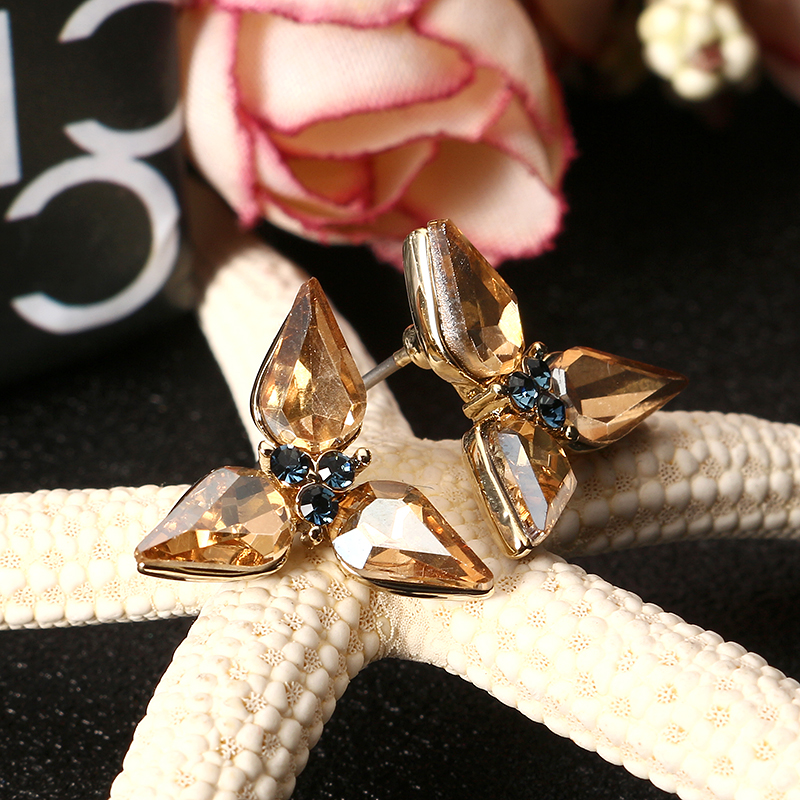 JASSY® Golden Shine Crystal Blue Rhinestone Elegant Earrings