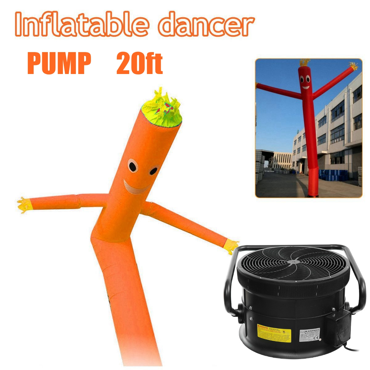 20ft Tube Man Inflatable Air Winder Dancing Puppet Wind Flying Air Blower
