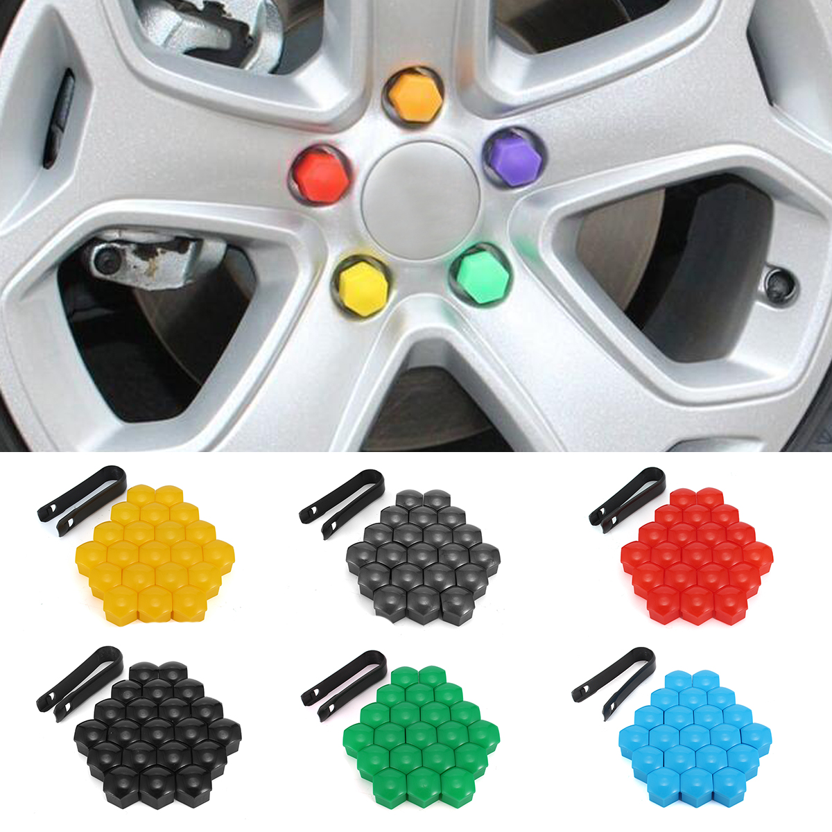 20pcs 17mm Car Wheels Plastic Nuts Screw Cap Removal Tools For AUDI VW