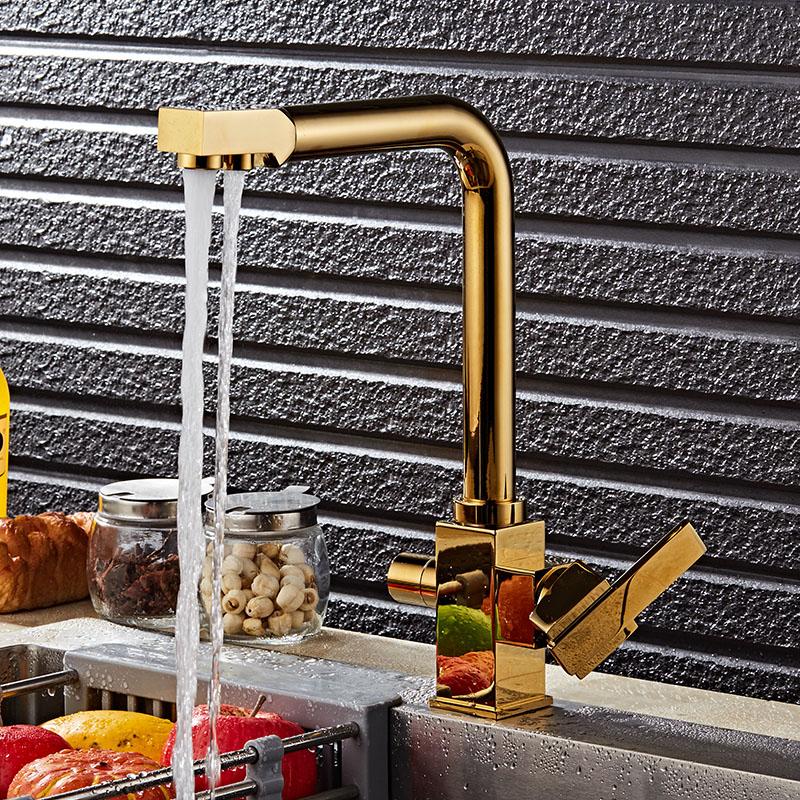 Brass Swivel Drinking Hot & Cold Water Faucet 3 Way Wat