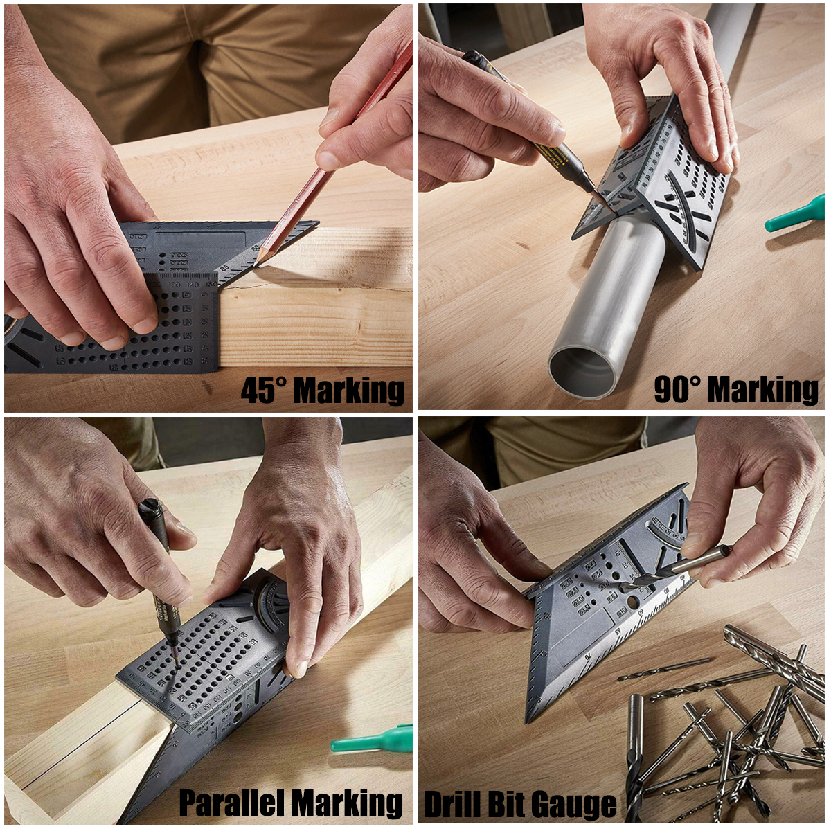 3D Mitre Bevel Angle Square Size Woodworking Measuring Tool With Gauge Ruler